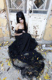 Halloween Misterious Dressed Gothic Woman Stock Photo