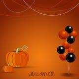 Halloween mit Ballonen und Kürbishintergrund Vektor illustrat Stockfotos