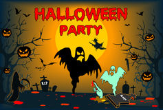 Halloween mit Geistern, Plakat, Illustration, Karte Stockfotos