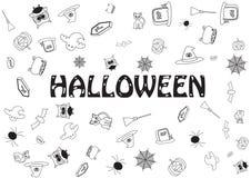 Halloween mit vielen Entwurfsikonen Lizenzfreies Stockfoto