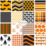 Halloween Patterns. 16 seamless repeating patterns for Halloween Royalty Free Stock Photography