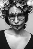 Halloween Model with Rhinestones and Wreath of Flowers Black and Royalty Free Stock Images