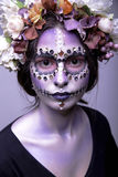 Halloween Model with Rhinestones and Wreath of Flowers Stock Photos