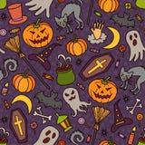 Halloween Modello senza cuciture di stile del fumetto e di scarabocchio colorful Vettore illustrazione di stock