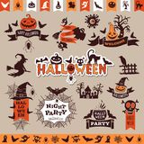 Halloween monochrome emblems for decoration. Vector collection. Halloween elements for holiday party Royalty Free Stock Photography