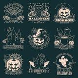 Halloween Monochrome Emblems Stock Photography