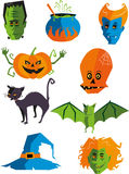 Halloween monster cartoon icons. Halloween monster cartoon icon illustrations Royalty Free Stock Photography