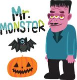 Halloween monster character with pumpkin and bat. Stock Images