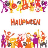 Halloween Monster Characters Frame Royalty Free Stock Photos