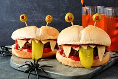 Halloween monster hamburgers, close up scene Royalty Free Stock Images