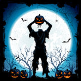 Halloween monster with head from pumpkin Royalty Free Stock Photo