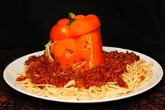 Halloween monster head stuffed pepper with meat sauce Stock Image