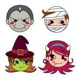 Halloween Monster Masks. Set of four monster face masks for halloween Royalty Free Stock Image