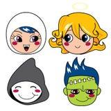 Halloween Monster Masks. Set of four monster face masks for halloween Royalty Free Stock Photo