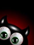 Halloween-monster met groene ogen met plaats voor tekst Stock Afbeelding