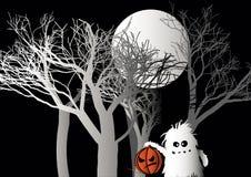 Halloween-Monster mit Kürbis im Wald lizenzfreie abbildung