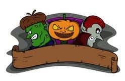 Halloween-Monster mit leerer Fahne lizenzfreie abbildung