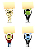 Halloween-Monster mit Zeichen Lizenzfreie Stockfotos