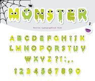 Halloween monster paper cut out font for kids. Cute gelly slim cartoons. For posters, banners, room decoration stock illustration