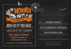 Halloween Monster Party postcard invitation template. Stock Photos