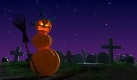 Halloween monster pumpkins at  cemetery. Fantasy 3d illustration. Halloween monster pumpkins similar to snowman at  cemetery. Fantasy 3d illustration Royalty Free Stock Photography