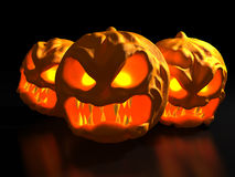 Halloween monster pumpkins. Fantasy 3d illustration. Three Halloween monster pumpkins. Fantasy horror 3d illustration Royalty Free Stock Images