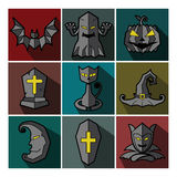Halloween monster set of flat icons Stock Photography