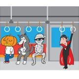 Halloween monster in subway cartoon Royalty Free Stock Image