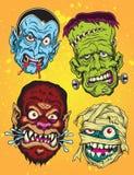 Halloween-Monsterhoofden Stock Afbeelding