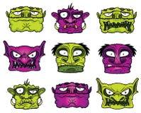 Halloween-Monsterhorror-Zombieköpfe Lizenzfreie Stockfotografie