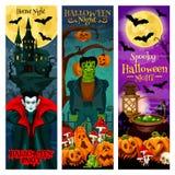 Halloween-Monsterparteieinladungs-Fahnendesign Lizenzfreie Stockfotos