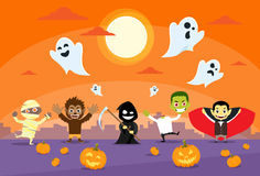 Halloween Monsters Banner Card Zobmbie Vampire Stock Images