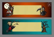 Halloween monsters blank space web banners set EPS10 file. Royalty Free Stock Photos