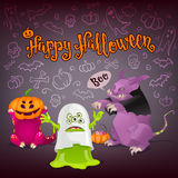Halloween monsters card. Royalty Free Stock Image