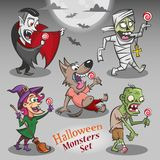 Halloween monsters characters with candies royalty free illustration