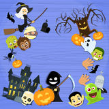 Halloween Monsters Collection Set Zombie Vampire. Ghost Death Grim Reaper Werewolf Copy Space Flat Vector Illustration Stock Photos
