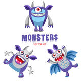 Halloween Monsters. Colorful Monsters For Kids. Halloween Costume Ideas. Halloween Pranks. Vector Set Cute Halloween Monsters With Toothy Smiles. Funny Colorful stock illustration