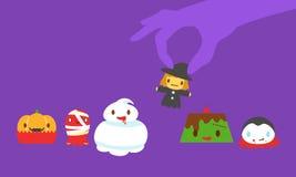 Halloween monsters desserts stock illustration