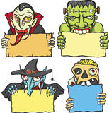 Halloween monsters greetings. Halloween cartoon style vector illustration: easy-edit layered vector EPS10 file scalable to any size without quality loss Stock Photography