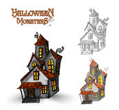 Halloween monsters haunted house illustration EPS10 file Stock Image