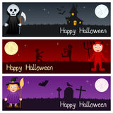 Halloween Monsters Horizontal Banners [2] Royalty Free Stock Photos