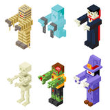 Halloween Monsters Icons Set Flat Design Isometric 3d Vector Illustration Royalty Free Stock Image