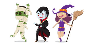Halloween Monsters. Including Mummy, Witch and Dracula Stock Photos