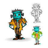 Halloween monsters isolated spooky zombie man set. Royalty Free Stock Image