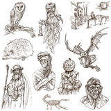 Halloween, Monsters, Magic - Hand Drawn Pack On White Royalty Free Stock Images