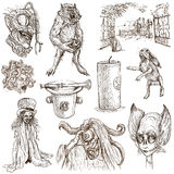 Halloween, Monsters, Magic - Hand drawn pack on white Stock Image