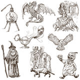 Halloween, Monsters, Magic - Hand drawn pack on white Royalty Free Stock Photo