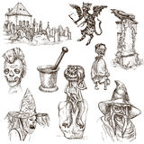 Halloween, Monsters, Magic - Hand drawn pack on white Stock Images