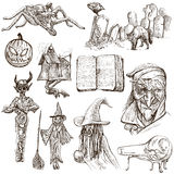 Halloween, Monsters, Magic - Hand drawn pack on white Stock Photography