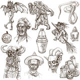 Halloween, Monsters, Magic - Hand drawn pack on white Stock Photo